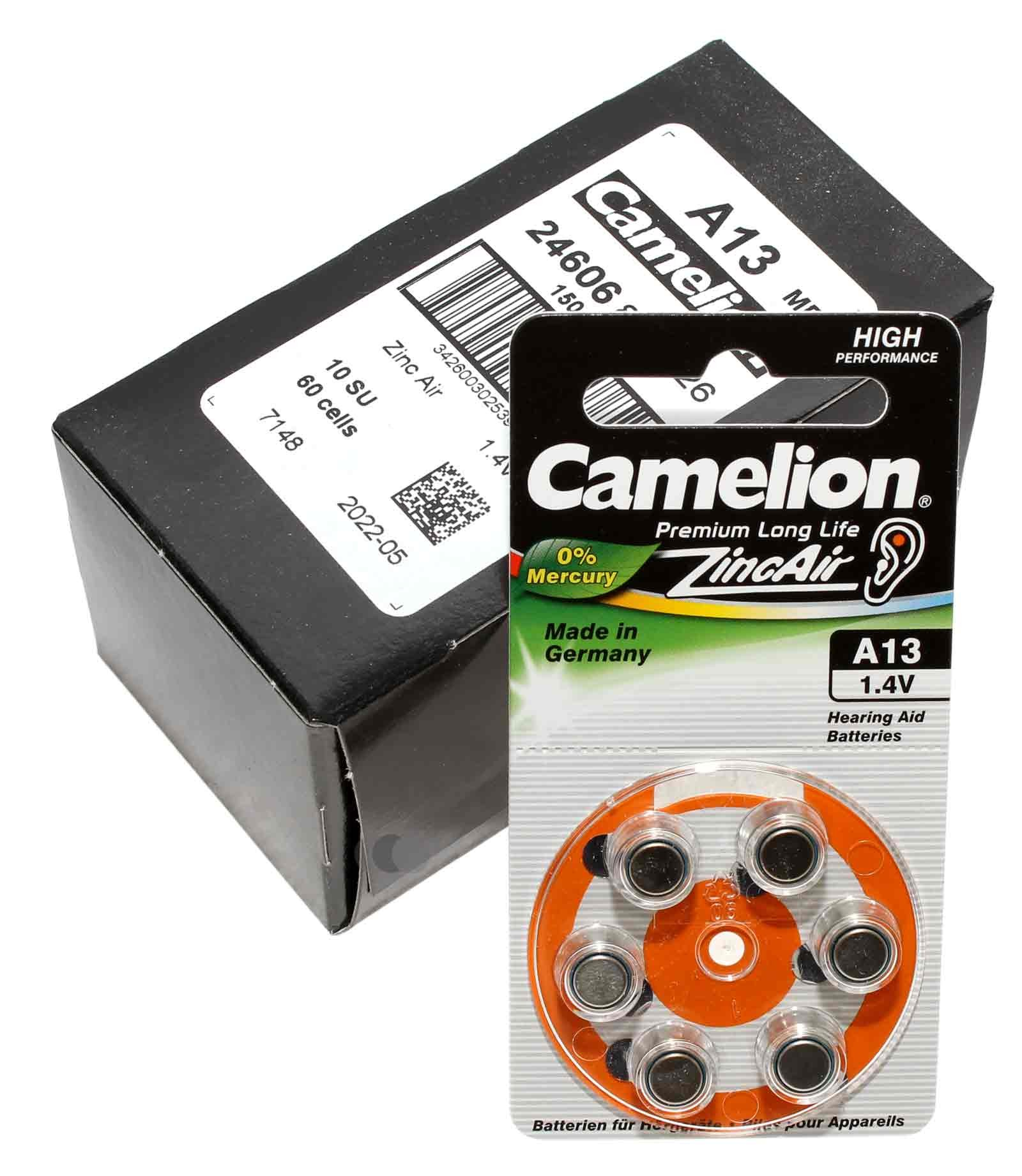 60 Stück Camelion Knopfzelle (Batterie) A312, PR41, [A312-BP6], für Hörgeräte (hearing aid / appareils auditifs), Zink-Luft mit 1,4V und 160mAh
