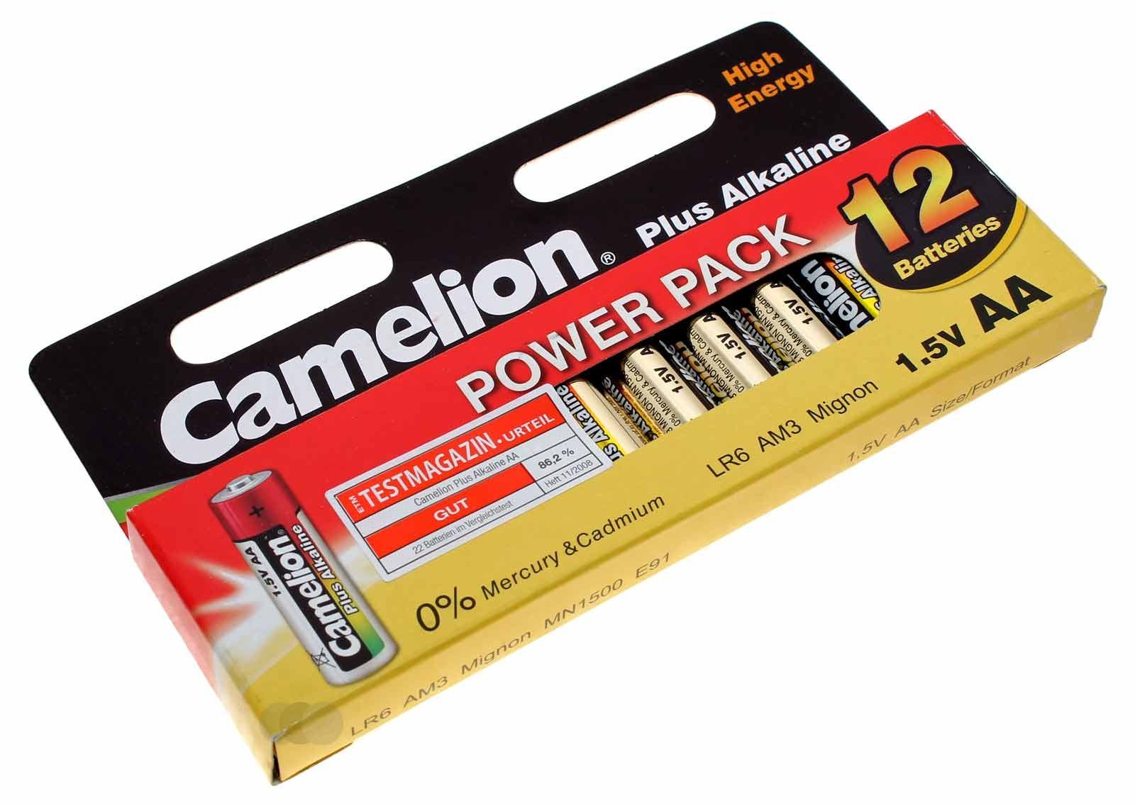 12er Power Pack Camelion Plus Alkaline Batterien AA Mignon [LR6-HP12] LR6 AM3 MN1500 E91 | 1,5V 2700mAh