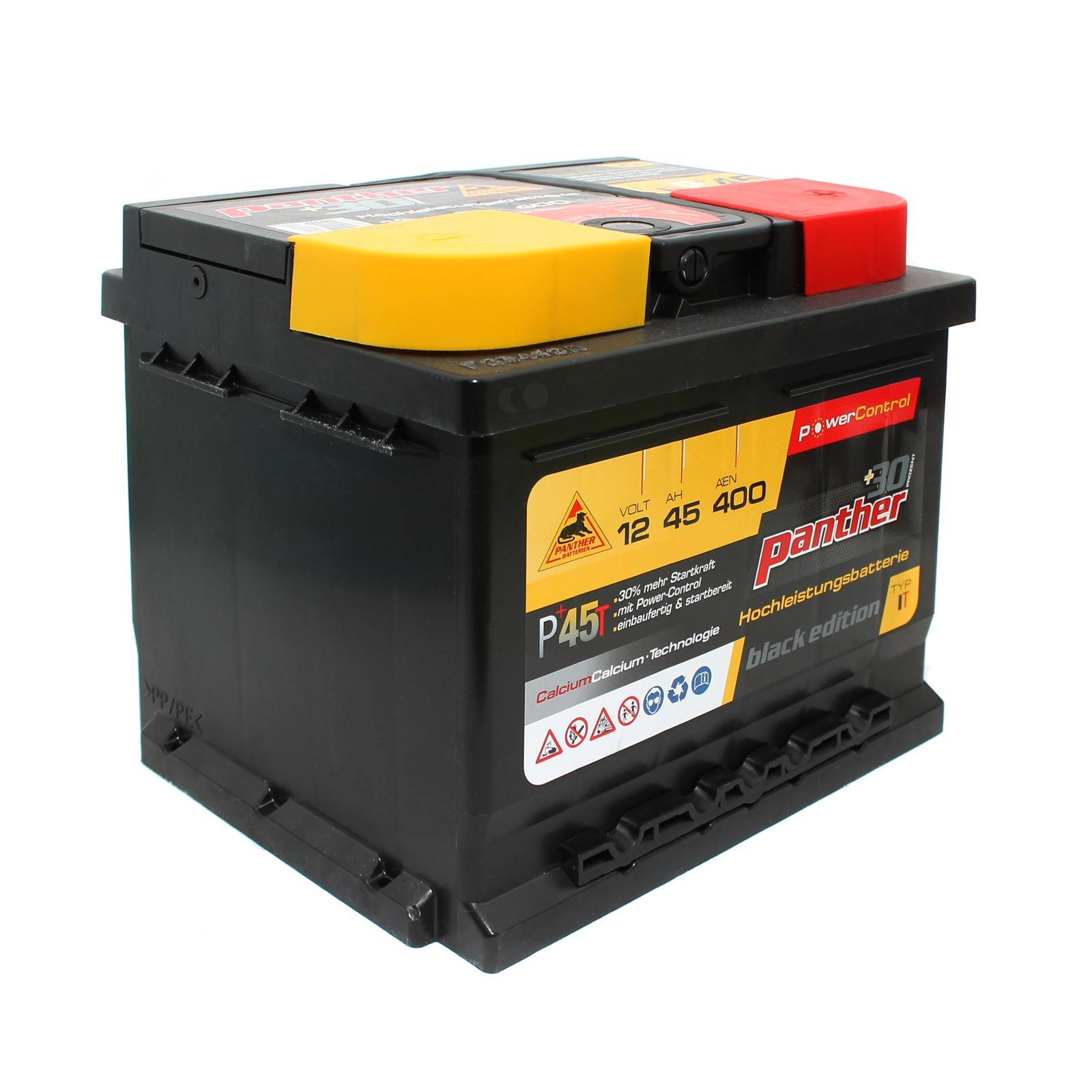 12v 45ah 400a auto batterie panther black edition p 45t. Black Bedroom Furniture Sets. Home Design Ideas
