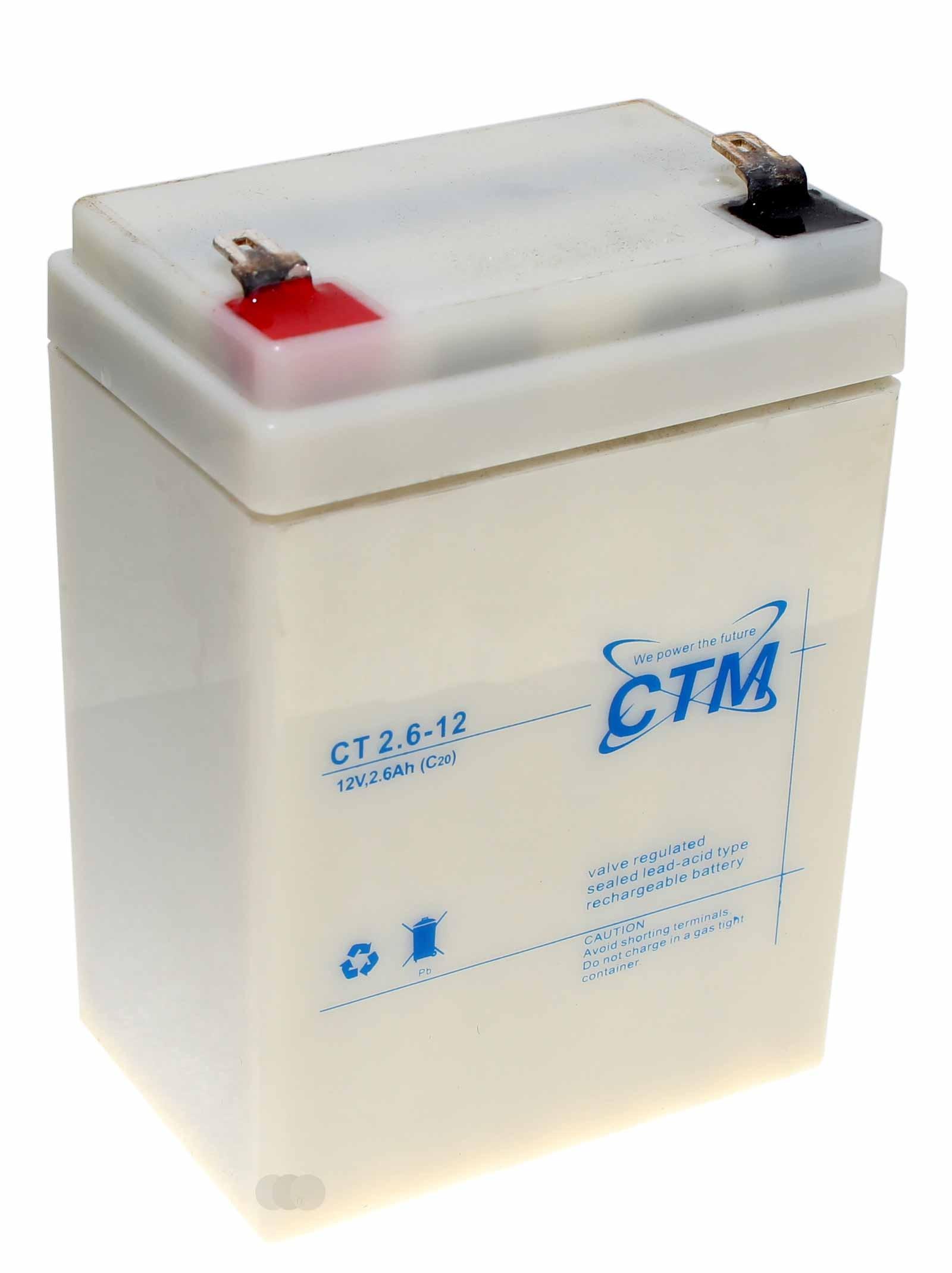12V CTM CT2,6-12 Bleiakku für Waeco PowerVac Akku-Sauger, 4,8mm Faston, 2600mAh