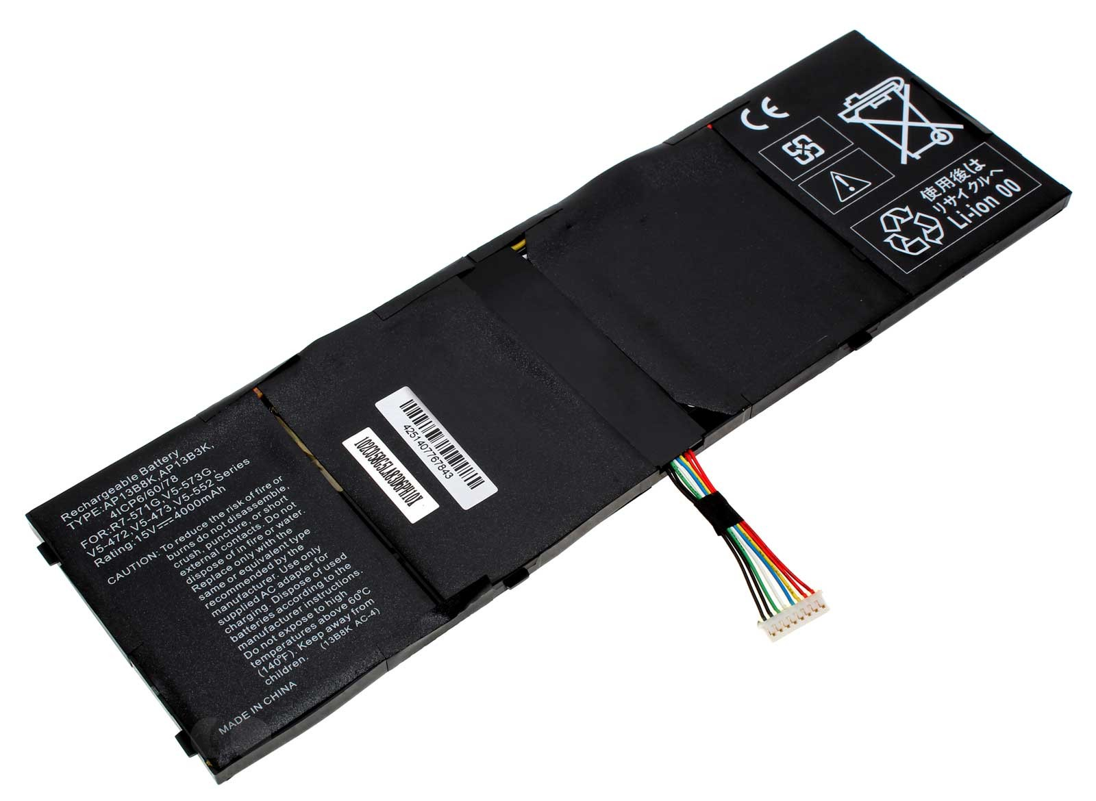 Alternativer Li-Ion Akku für Acer Laptop, Notebook mit 15 Volt und 4000mAh Kapazität. Ersetzt den original Akku 41CP6/60/78, KT.00403.013, TIS 2217-2548, AL13B3K, AP13B3K, AP13B8K