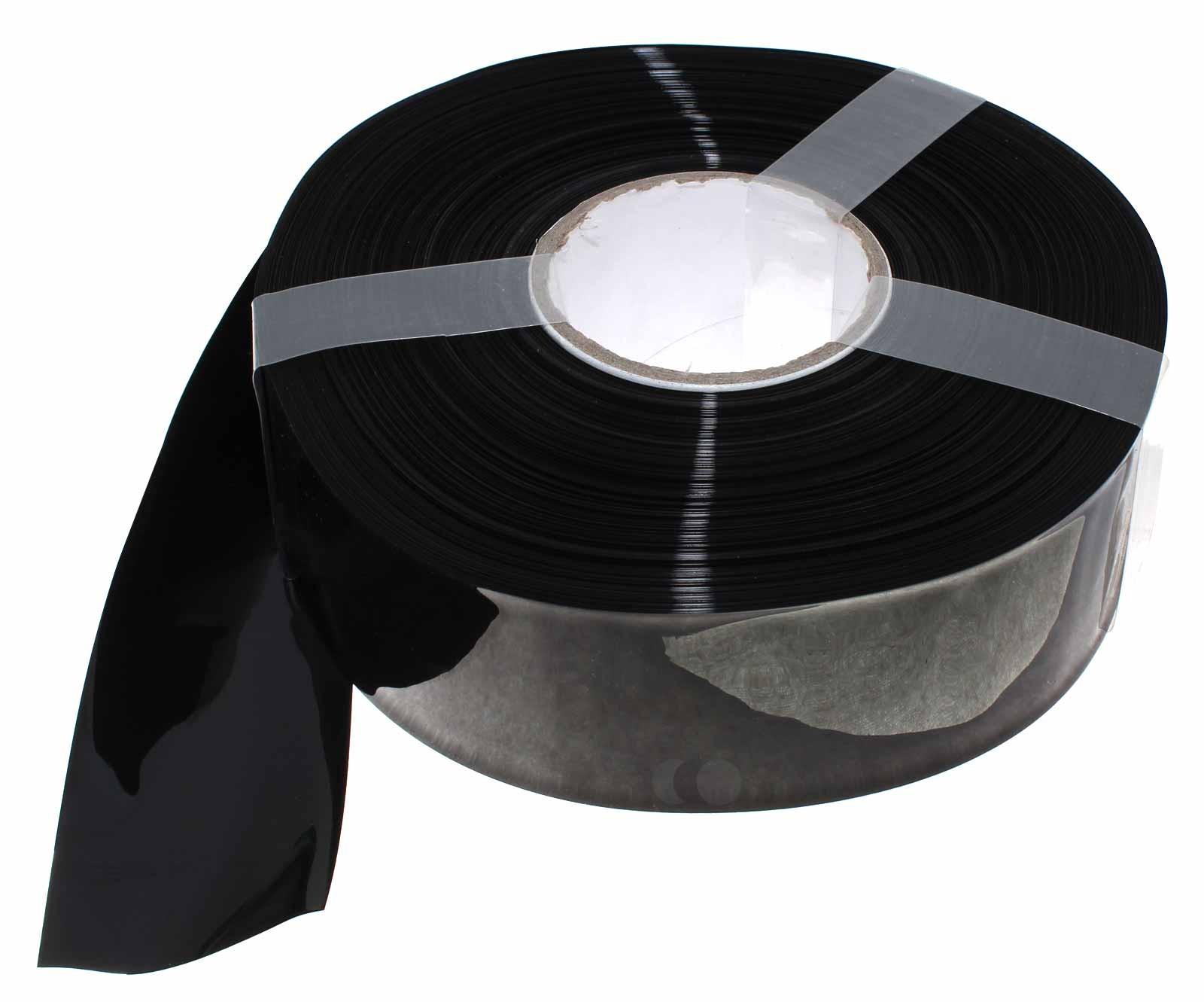 1 Meter Hart PVC Schrumpfschlauch 62mm Flachmass, 0,08mm Wandstärke, schwarz
