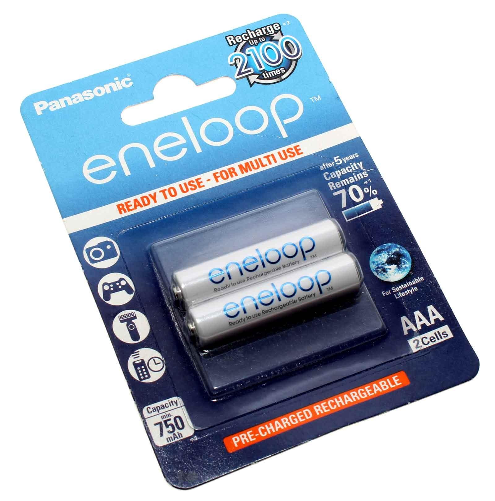 2er Pack 1,2V Panasonic eneloop AAA, HR03 Micro, NiMH Akku, 750mAh, BK-4MCCE/2BE