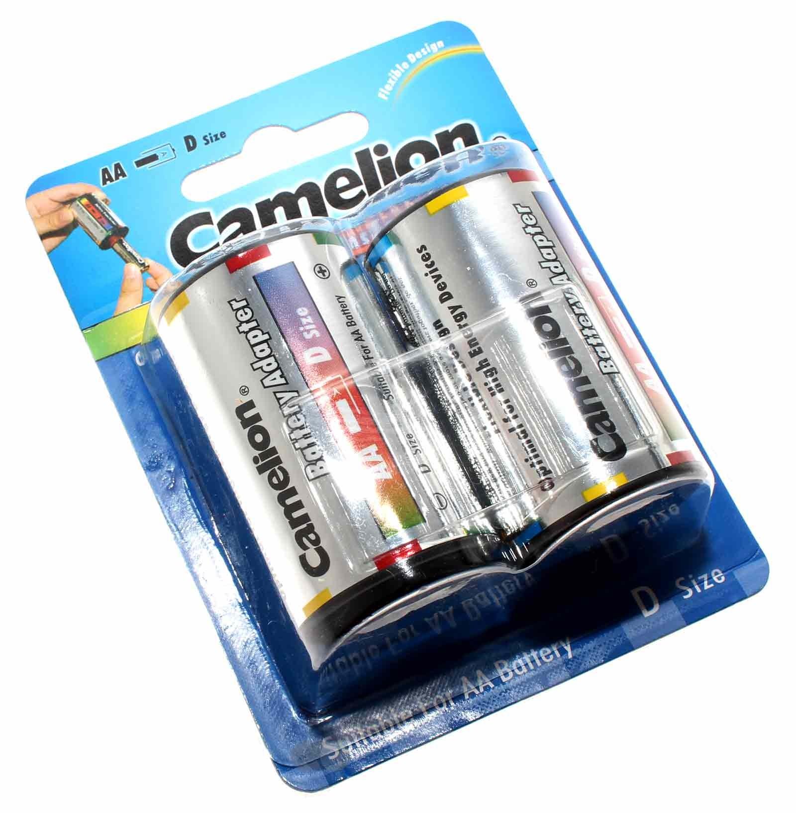 2er Blister Pack Camelion Batterieadapter von Mignon AA auf Mono D Format