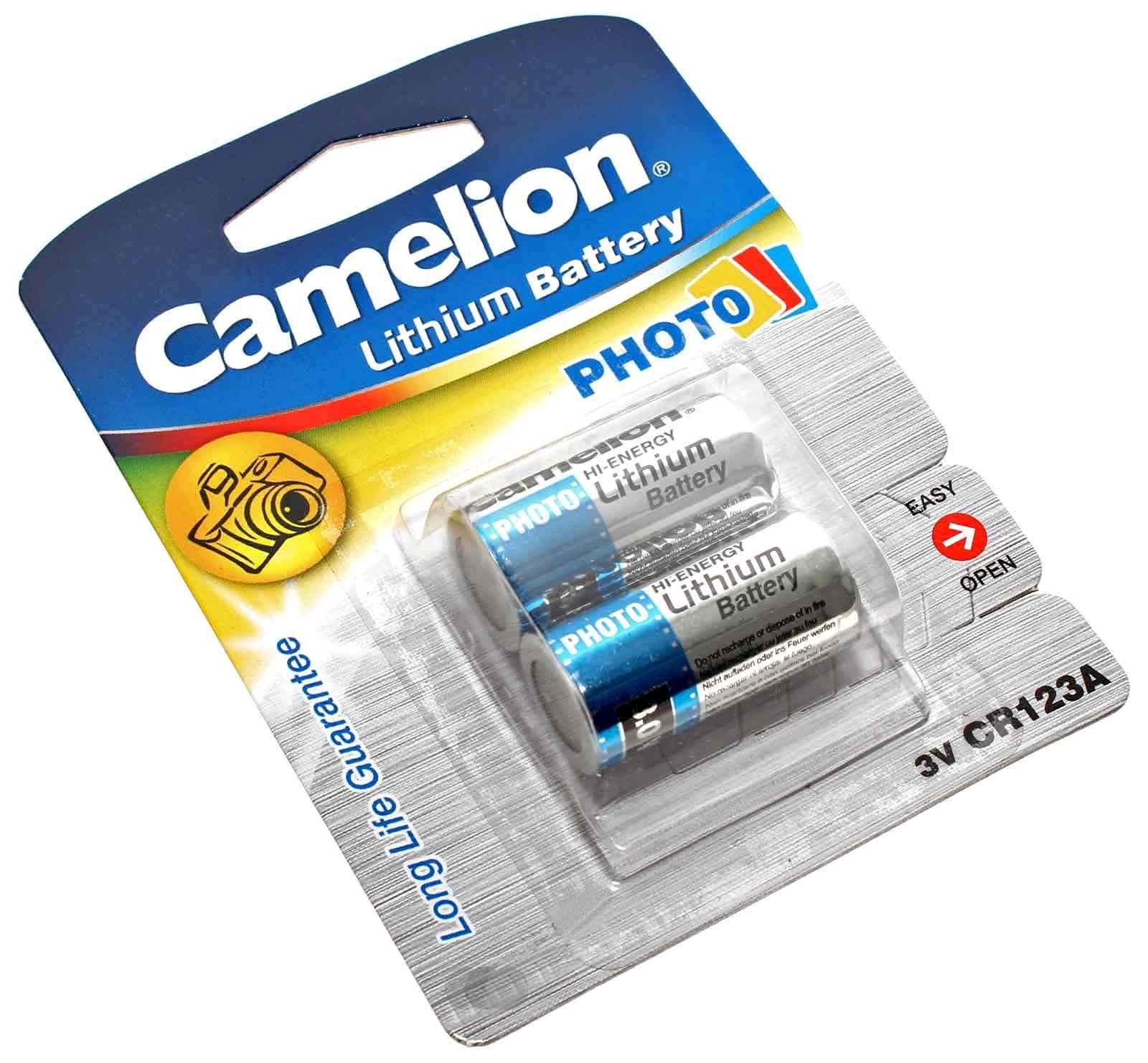 2er Pack Camelion CR123A Lithium Foto Batterie, 3V, 1300mAh, wie 5018LC, CR17345, EL123AP