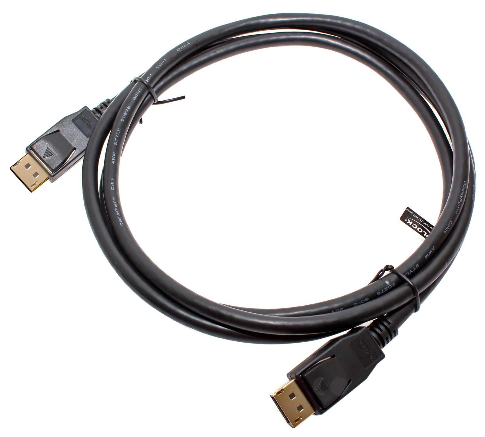 2m 4k Displayport 1.2 Kabel, Stecker auf Stecker, 83806, Delock