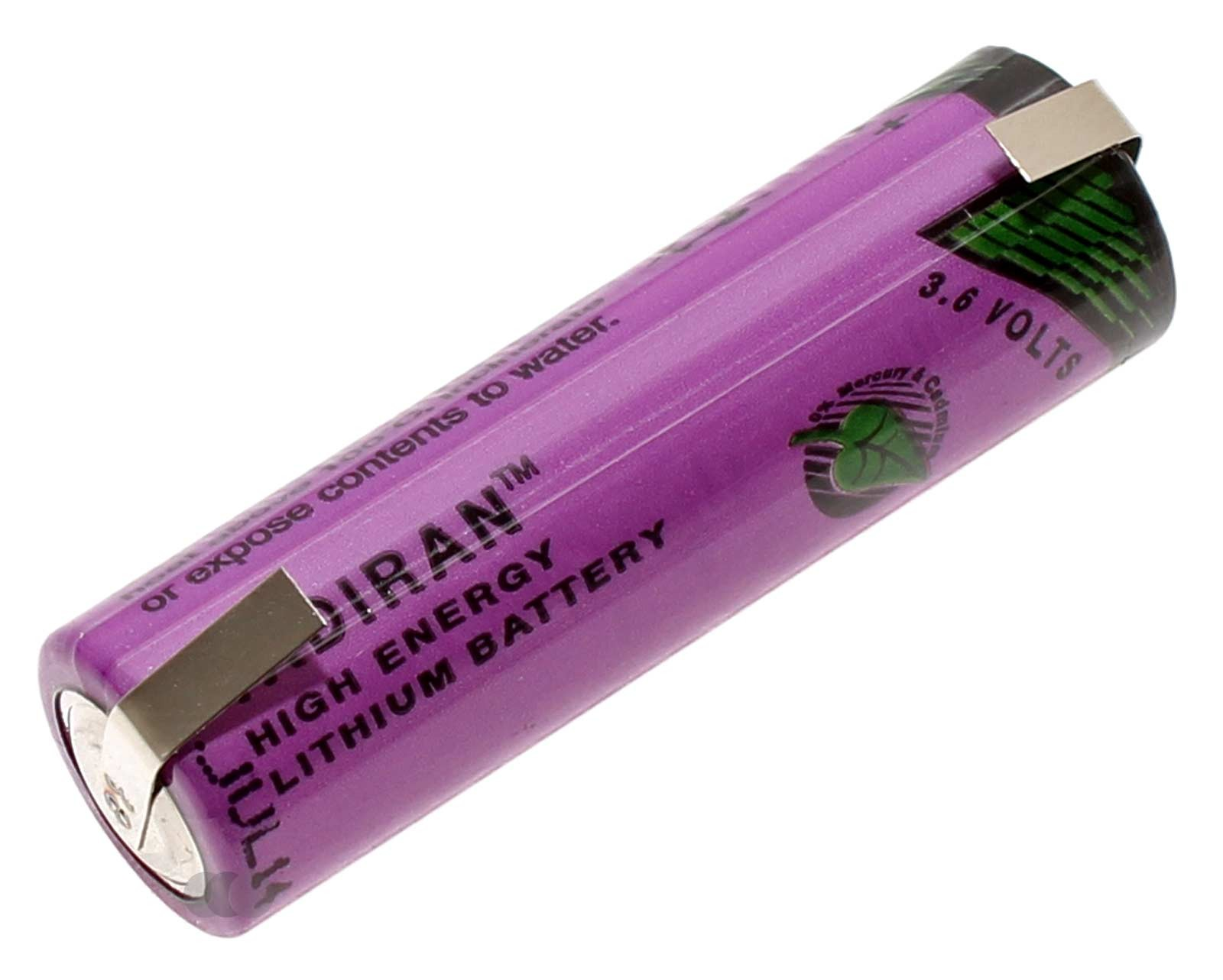 Tadiran SL-760 Spezial-Batterie Mignon AA Lithium-Thionylchlorid Li-SOCl2 Industriezelle mit 3,6 Volt und 2200mAh Kapazität, mit U-Lötfahne
