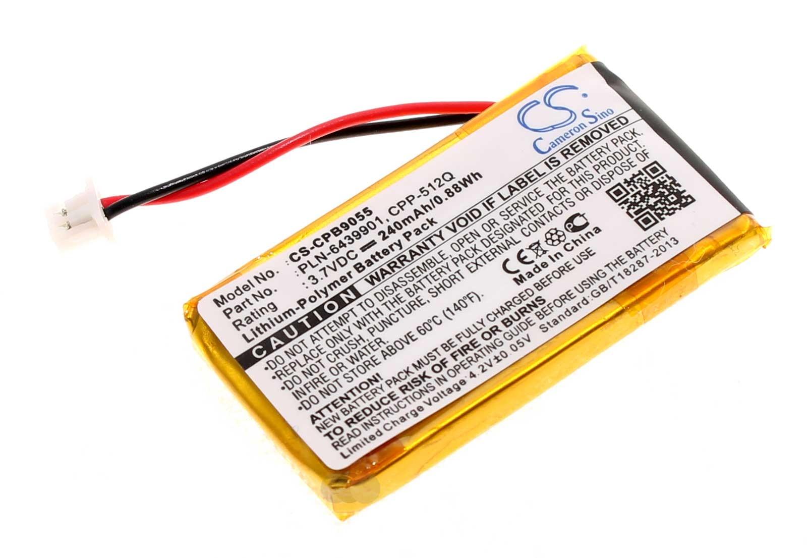 Alternativer Akku für Plantronics und Avaya Wireless Office Headsets mit 3,7 Volt und 240mAh Kapazität für Plantronics 64327-01, 64399-01, 65358-01, AWH-55, AWH-65, C351N, C65, CS351, CS351N, CS351V, CS361, CS361N, CS50, CS50USB, CS50-USB, CS510, CS510A,
