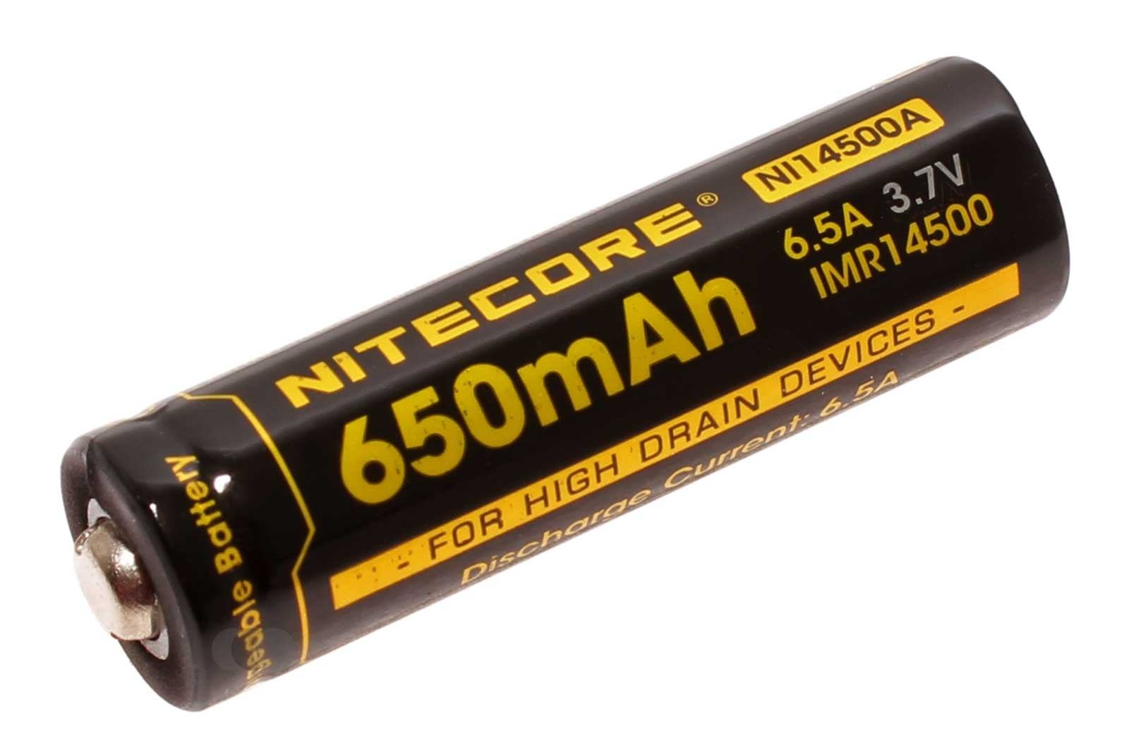 Nitecore IMR14500 Li-Ion Akku ungeschützt mit 3,7 Volt und 650mAh Kapazität, Modell NI14500A