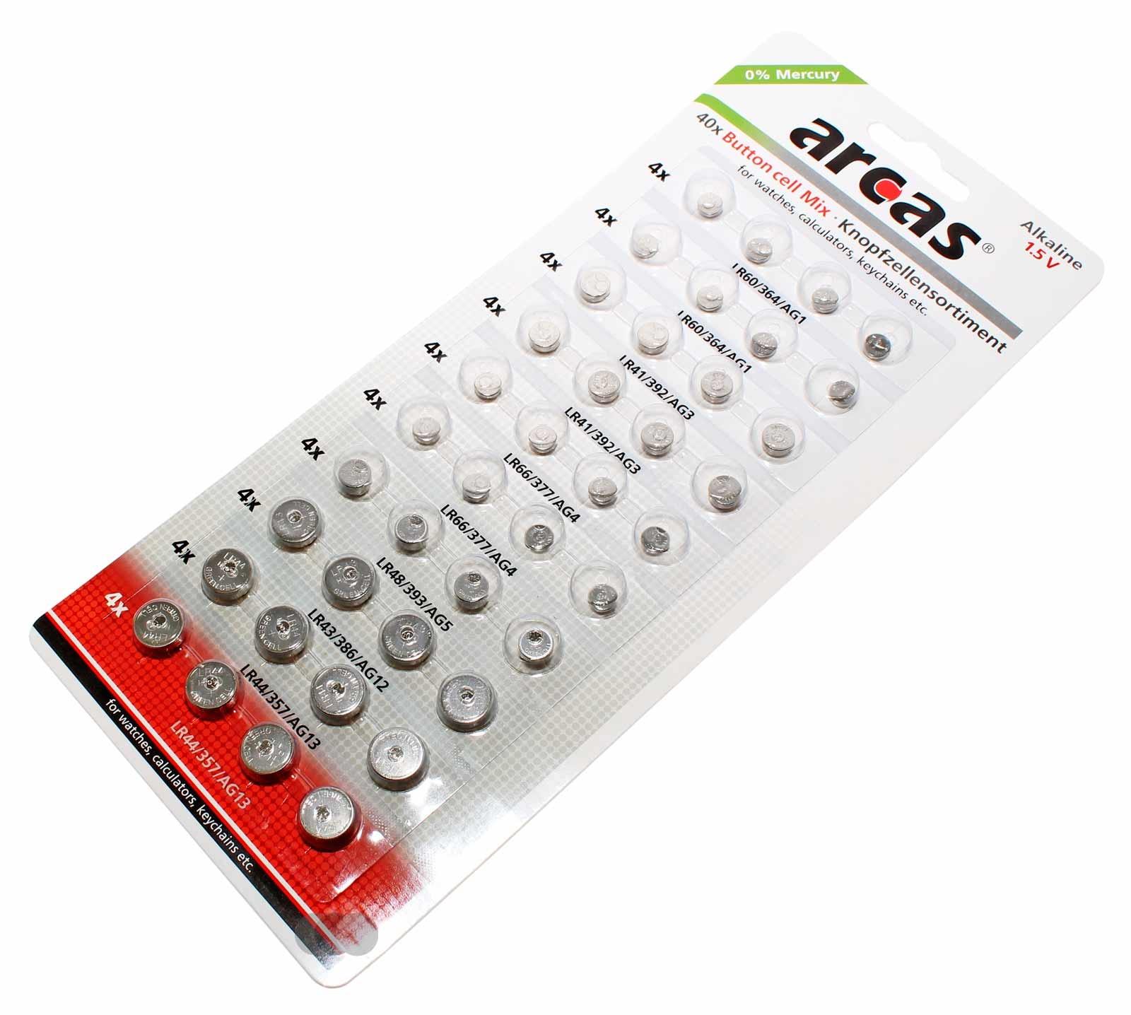 40er Pack Arcas Knopfzellen Batterie Alkaline 1,5V AG1, AG3, AG4, AG5, AG12, AG13, Uhr, Taschenrechner