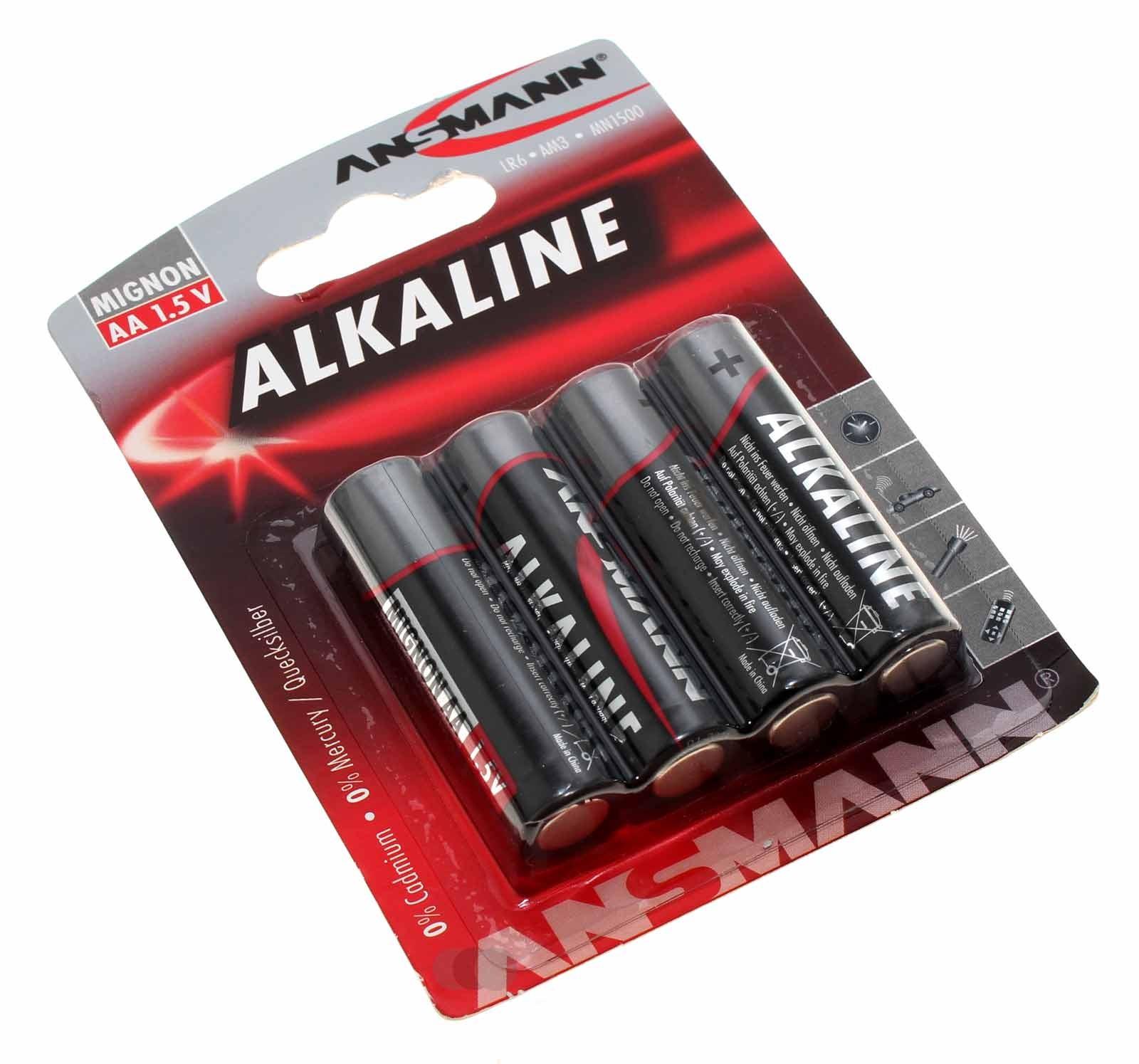 4er Blister Ansmann Alkaline Red Batterie Mignon AA, LR6, AM3, MN1500, HR6, 1,5V