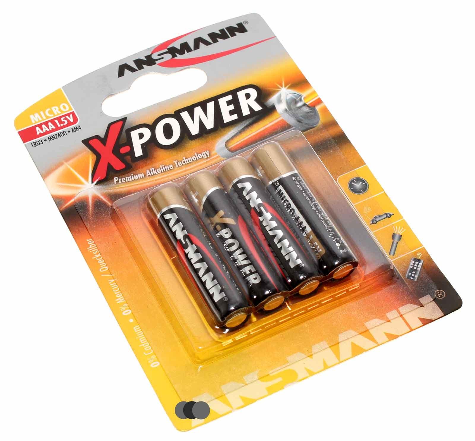 4er Pack Ansmann X-Power Alkaline Batterie Micro AAA (LR03) mit 1,5 Volt und 1300mAh Kapazität, Artikelnummer 5015653