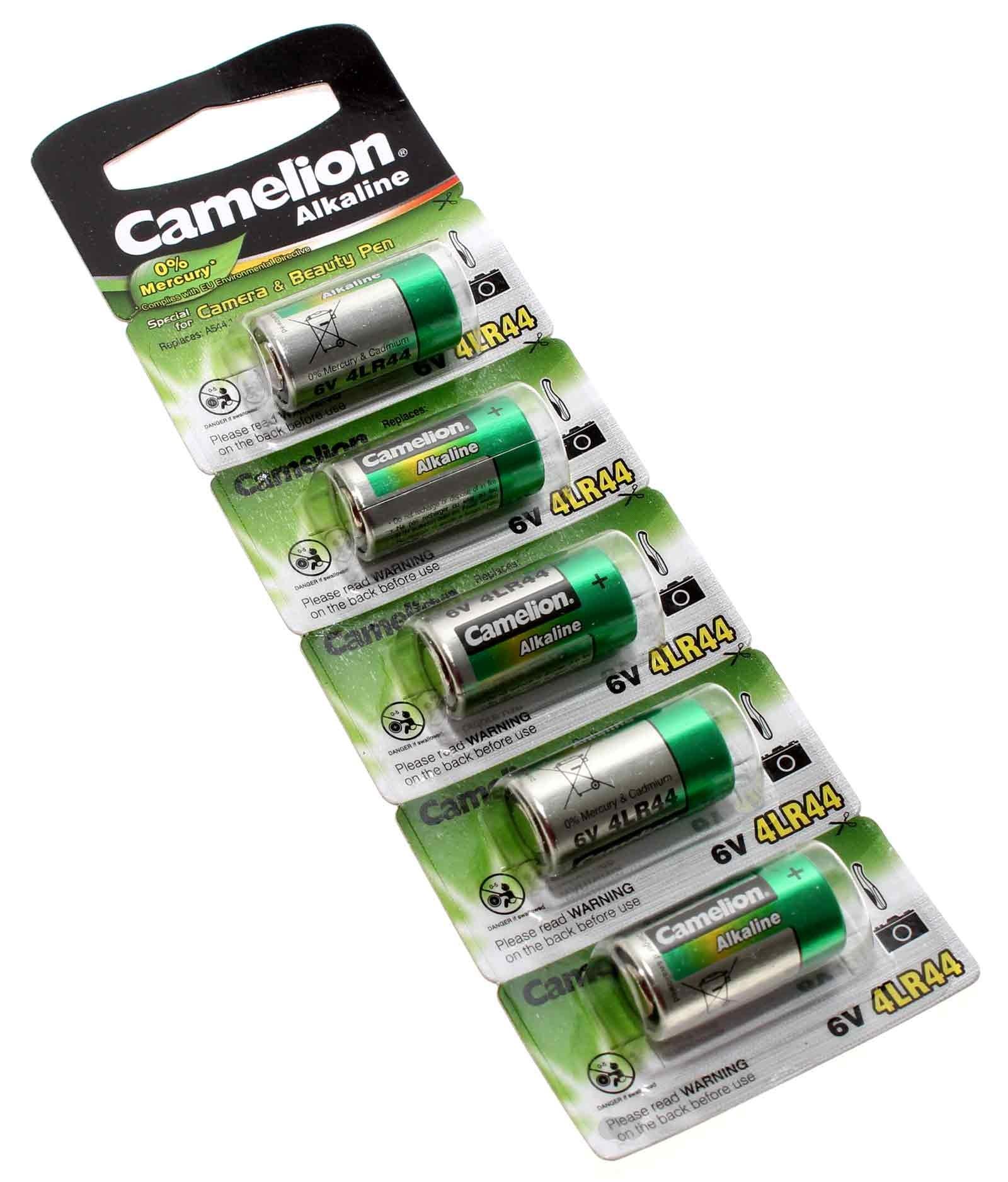 5er Pack Camelion 4LR44 Alkaline Spezial Batterie, 6V, 150mAh, wie 4LR44P, A476, E476A