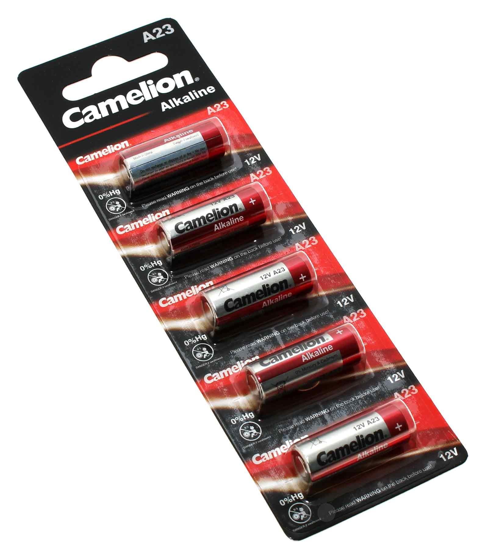 5er Pack Camelion 23A Batterie, A23, V23PX, V23GA, L1028, LRV08, MN21, G23A, E23A mit 12V und 55mAh