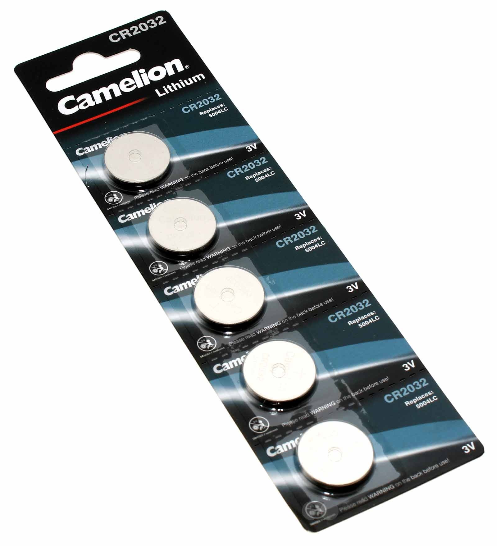 5x Camelion CR2032 [CR2032-BP5] Lithium Knopfzelle Batterie, DL2032, 5004LC, ECR2032, 3V, 220mAh