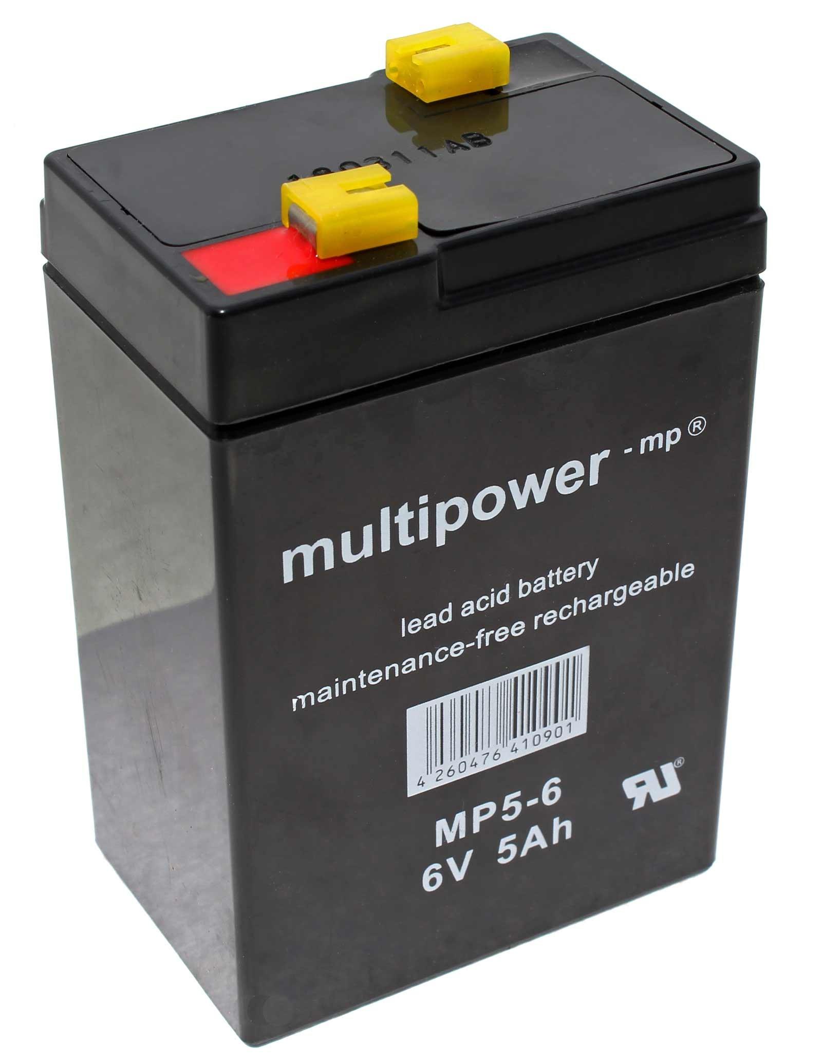 Multipower MP5-6 Blei Gel Akku mit 6 Volt, 5Ah Kapazität und 4,8mm Faston Kontakten