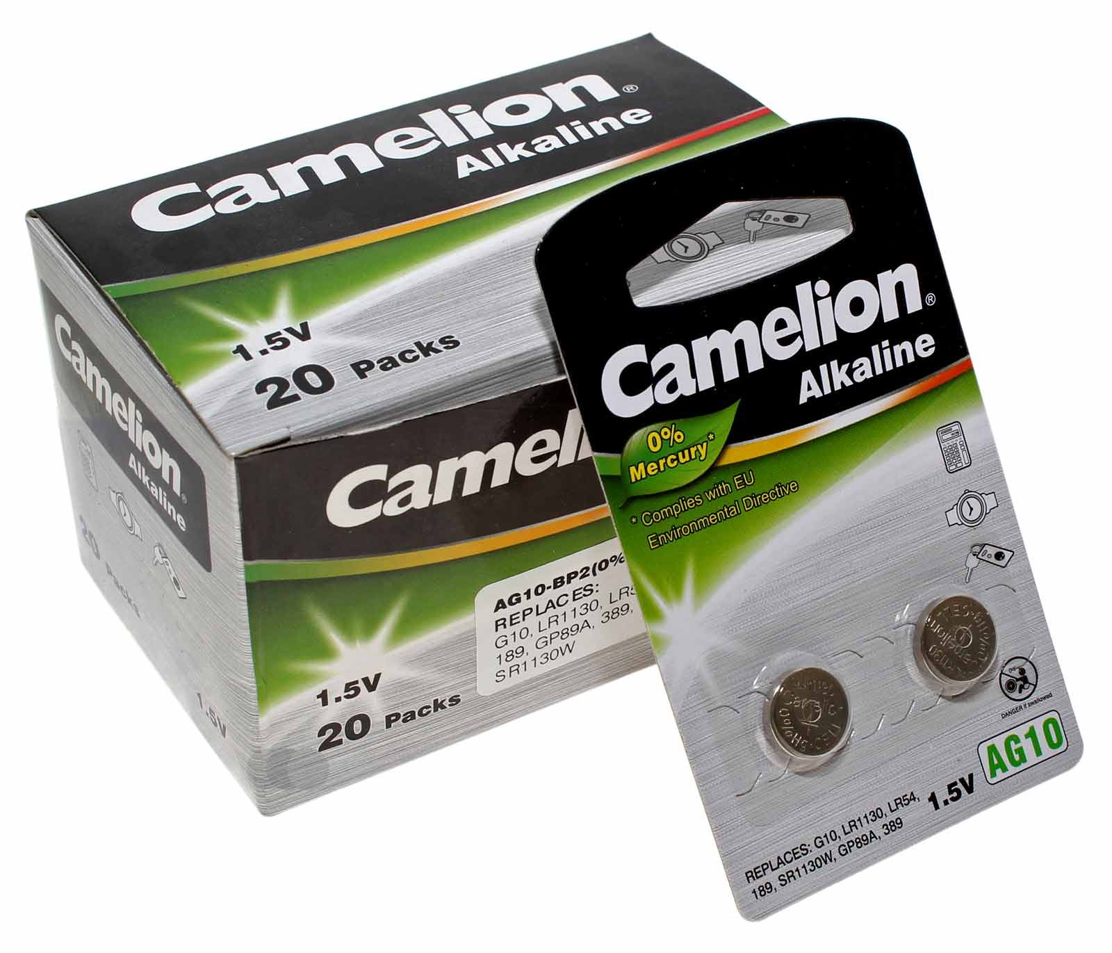 20x 2er Pack (40 Stk.) Camelion AG10 Alkaline Knopfzelle Batterie 1,5V, 80mAh, AG10-BP2, (0% Hg)