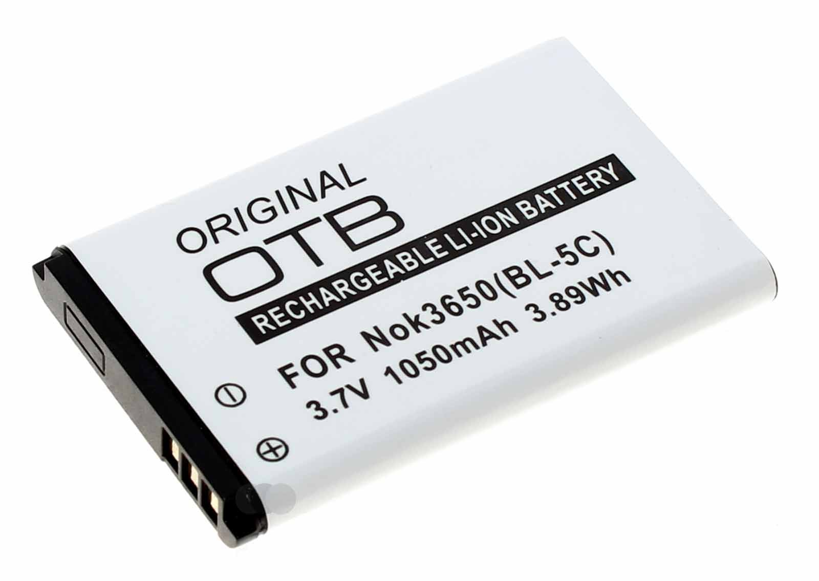 Akku für Nokia 100, C1, E50, N70, N-Gage u.a., ersetzt Nokia BL-5C BL-5CA u.a., 3,7V, 1050mAh