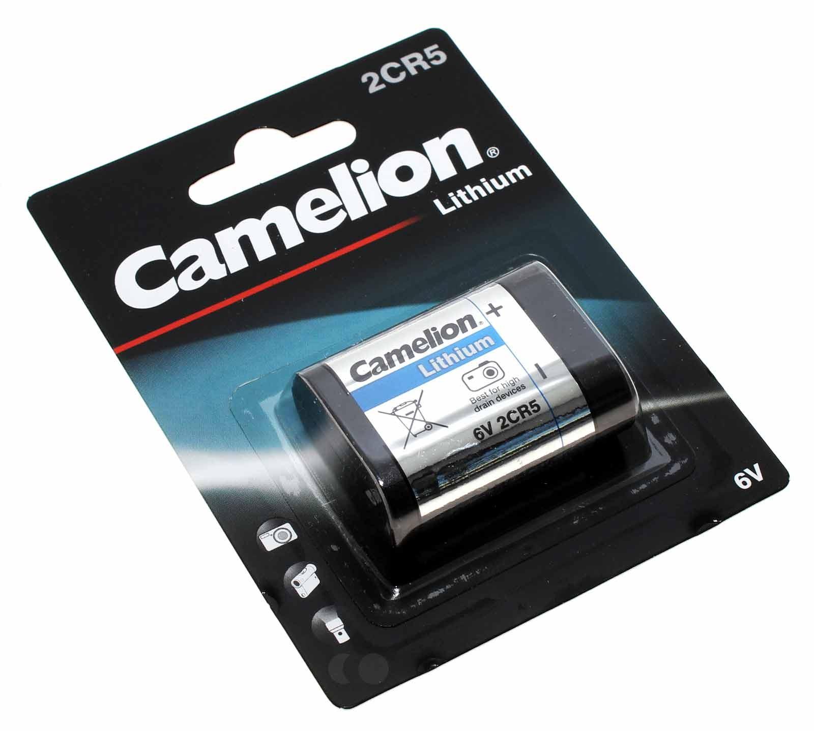 Camelion 2CR5 Lithium Foto Batterie, wie EL2CR5, RL2CR5, DL245, 2CR5M, 5032LC, 245 mit 6V und 1400mAh