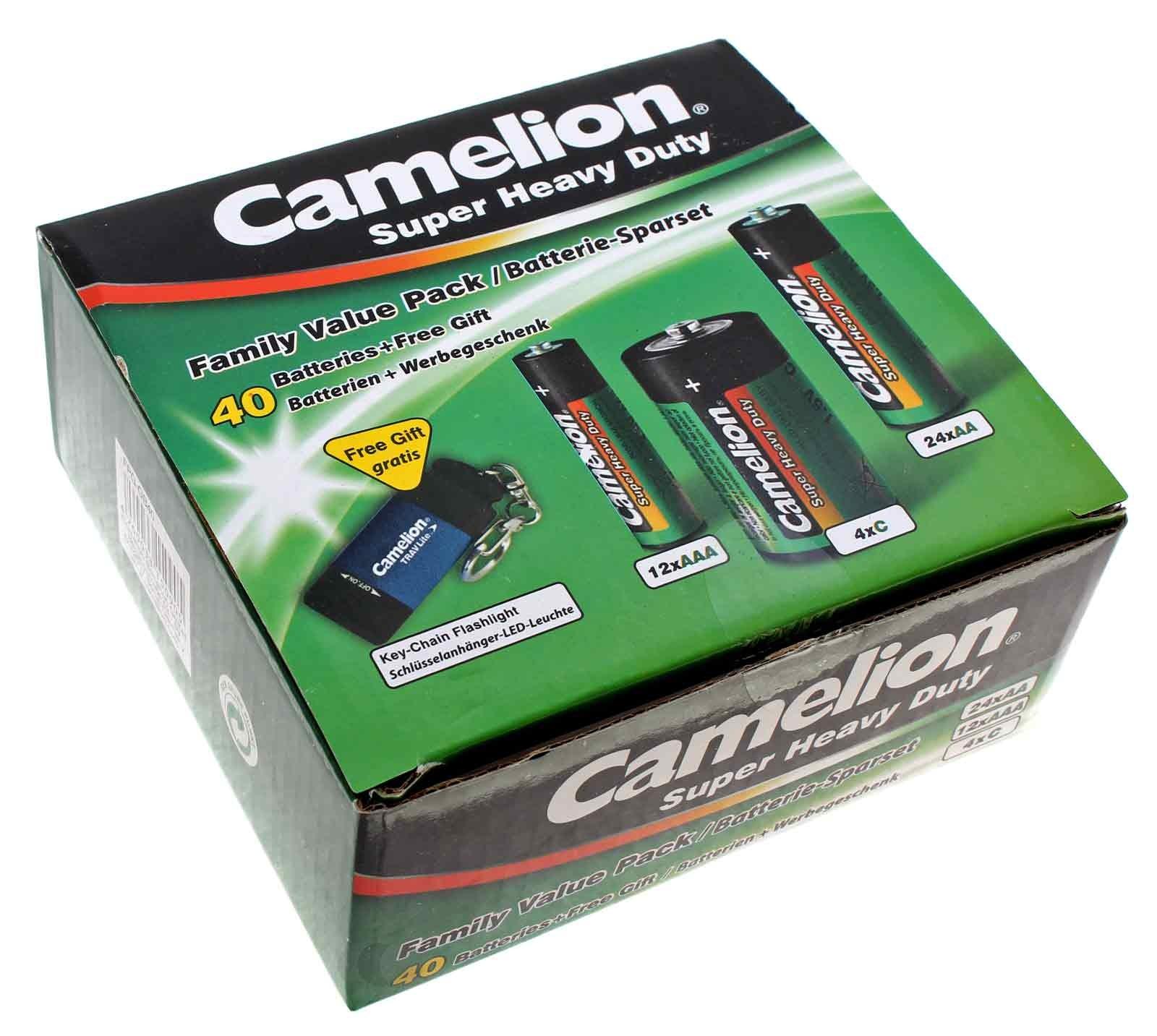 Camelion Batterie Spar-Set 40-tlg 24x AA Mignon, 12x AAA Micro, 4x C Baby und gratis Schlüsselanhänger- Taschenlampe