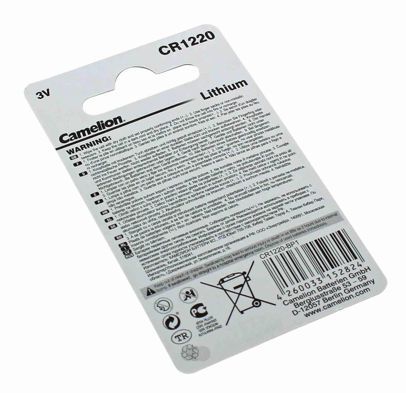 Camelion CR1220 Lithium Knopfzellen Batterie mit 3 Volt und 38mAh Kapazität