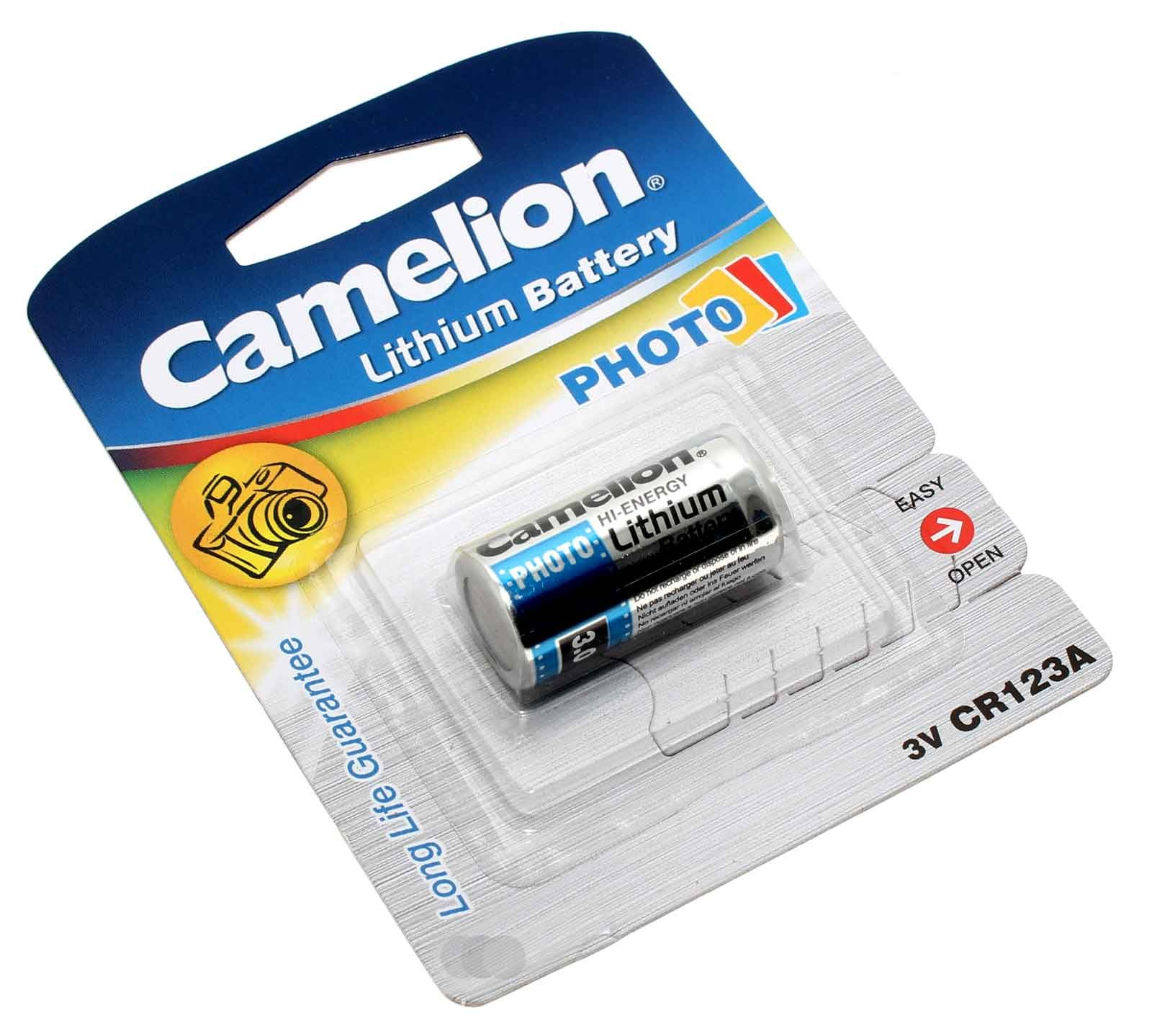 Camelion CR123A Lithium Foto Batterie, wie 5018LC, EL123AP, DL123A, CR17345 mit 3V und 1300mAh