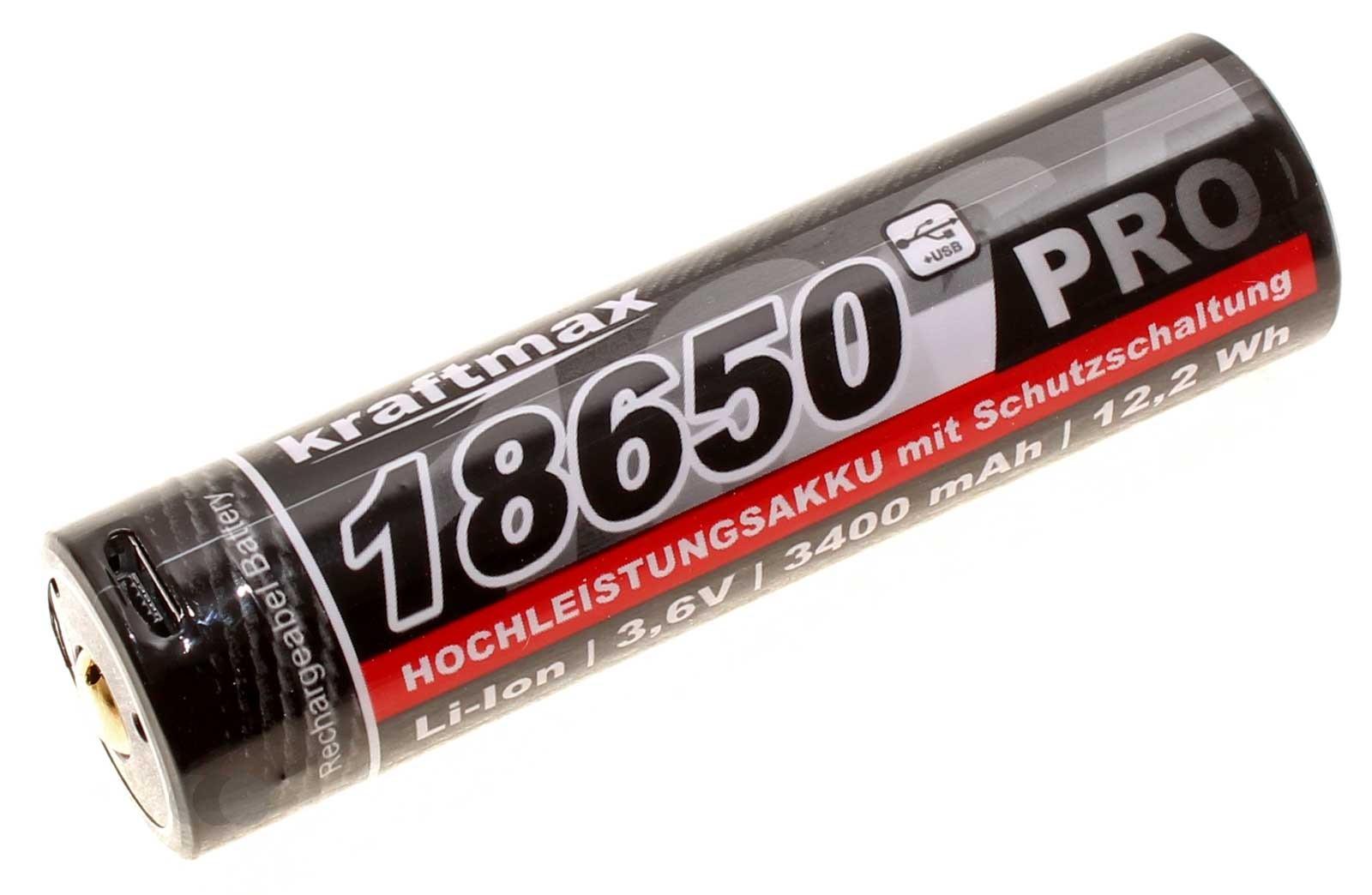 3,6V Kraftmax 18650 Pro, PCB Schutzschaltung, Micro-USB Ladeanschluss, 3400mAh