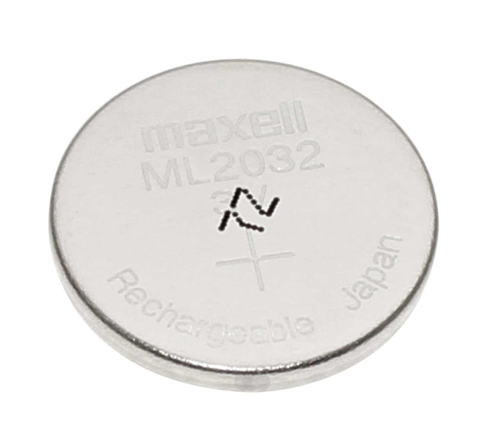 Maxell ML2032 Knopfzelle Akku Batterie, ersetzt CR2032, für Logitech K750 mit 3V und 65mAh