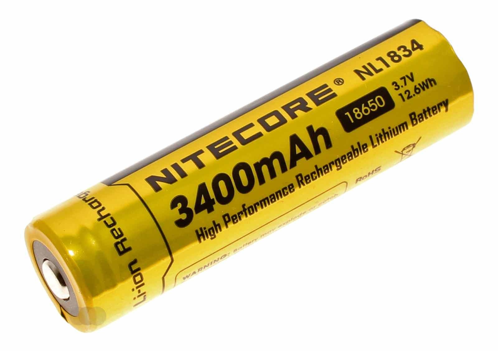 NiteCore NL1834 18650 Li-Ion spezial Akku 3,7 Volt und 3400mAh Kapazität, B-Ware ohne Blisterverpackung