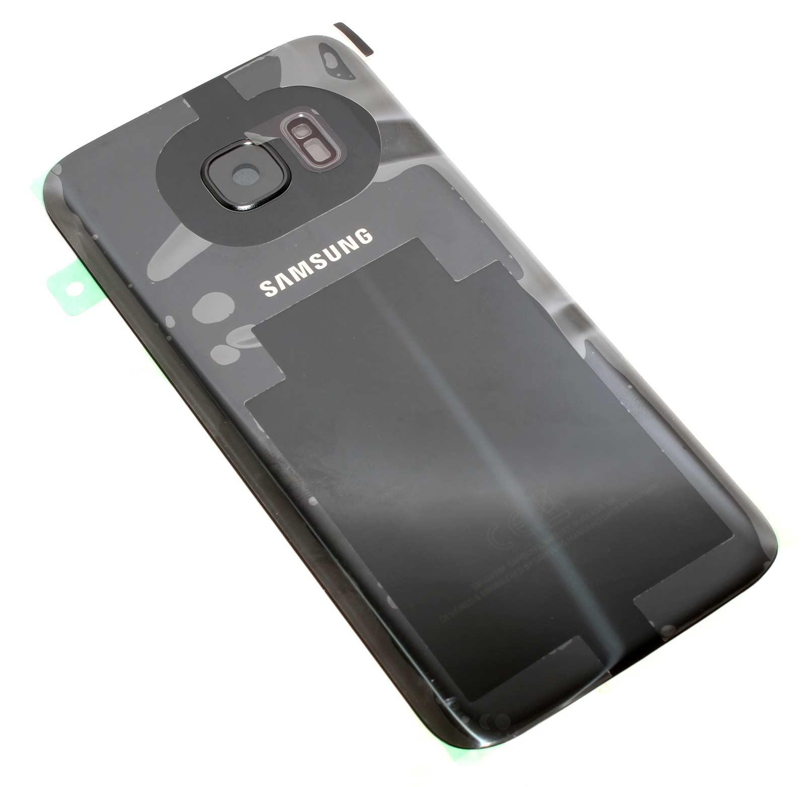 Original Samsung Akkudeckel, Batterieabdeckung, Rückseite, Back-Cover schwarz mit Klebepad für Samsung Galaxy S7 G930f Smartphone, Handy, Ersatzteil Teilenummer GH82-11384A.