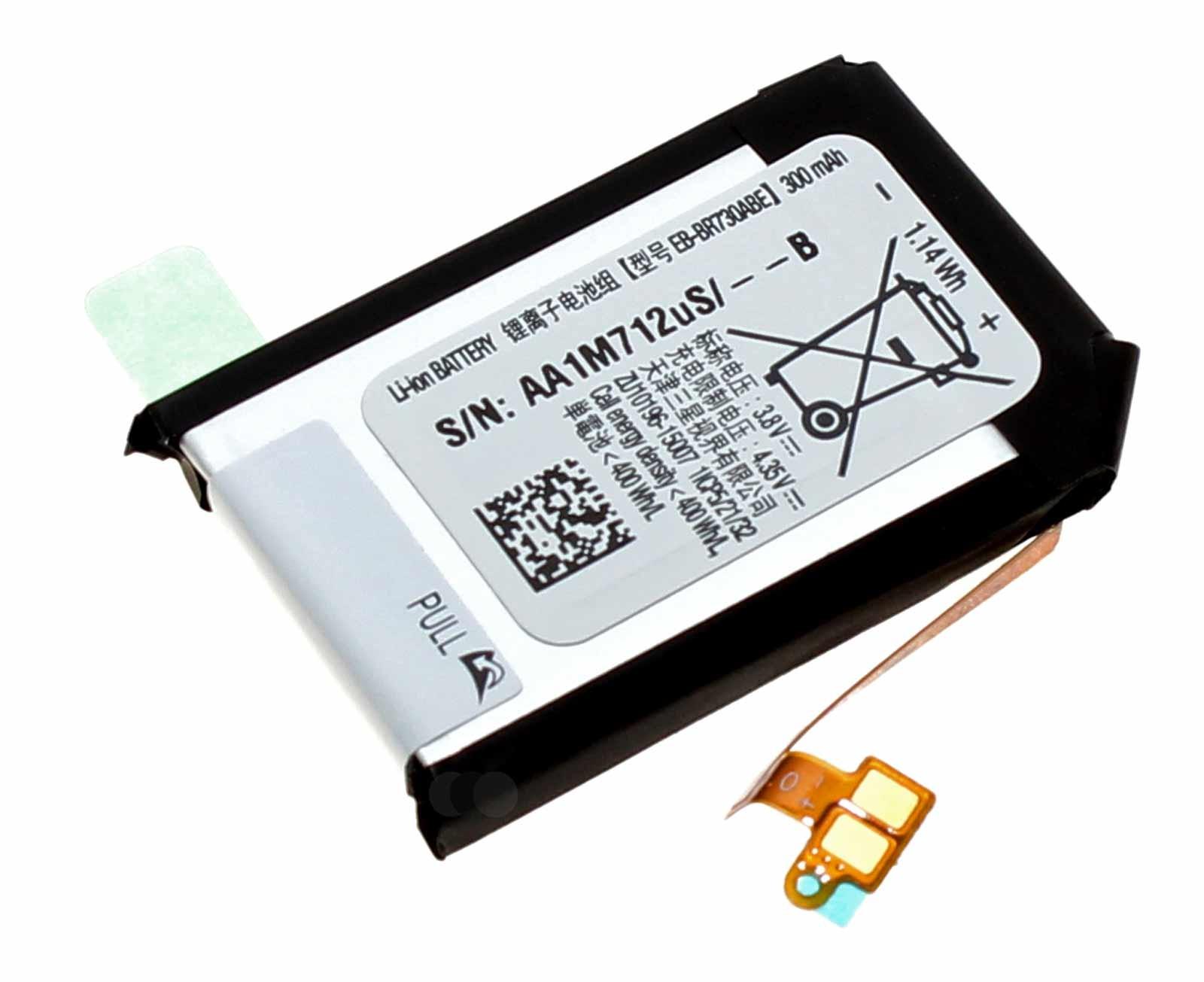 Original Akku Samsung EB-BR730ABE für Samsung Gear Sport SM-R600 Smartwatch, Fitnesstracker mit 3,8 Volt und 300mAh Kapazität, Ersatzteil Teilenummer GH43-04538B