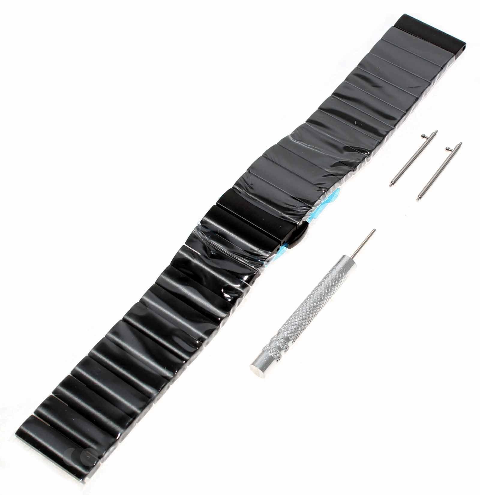 Alternatives Ersatz Uhren Armband (Watch band) für Samsung Gear S3 u.a. Smartwatches, Fitnesstracker aus Edelstahl in der Farbe schwarz, mit 22mm Breite
