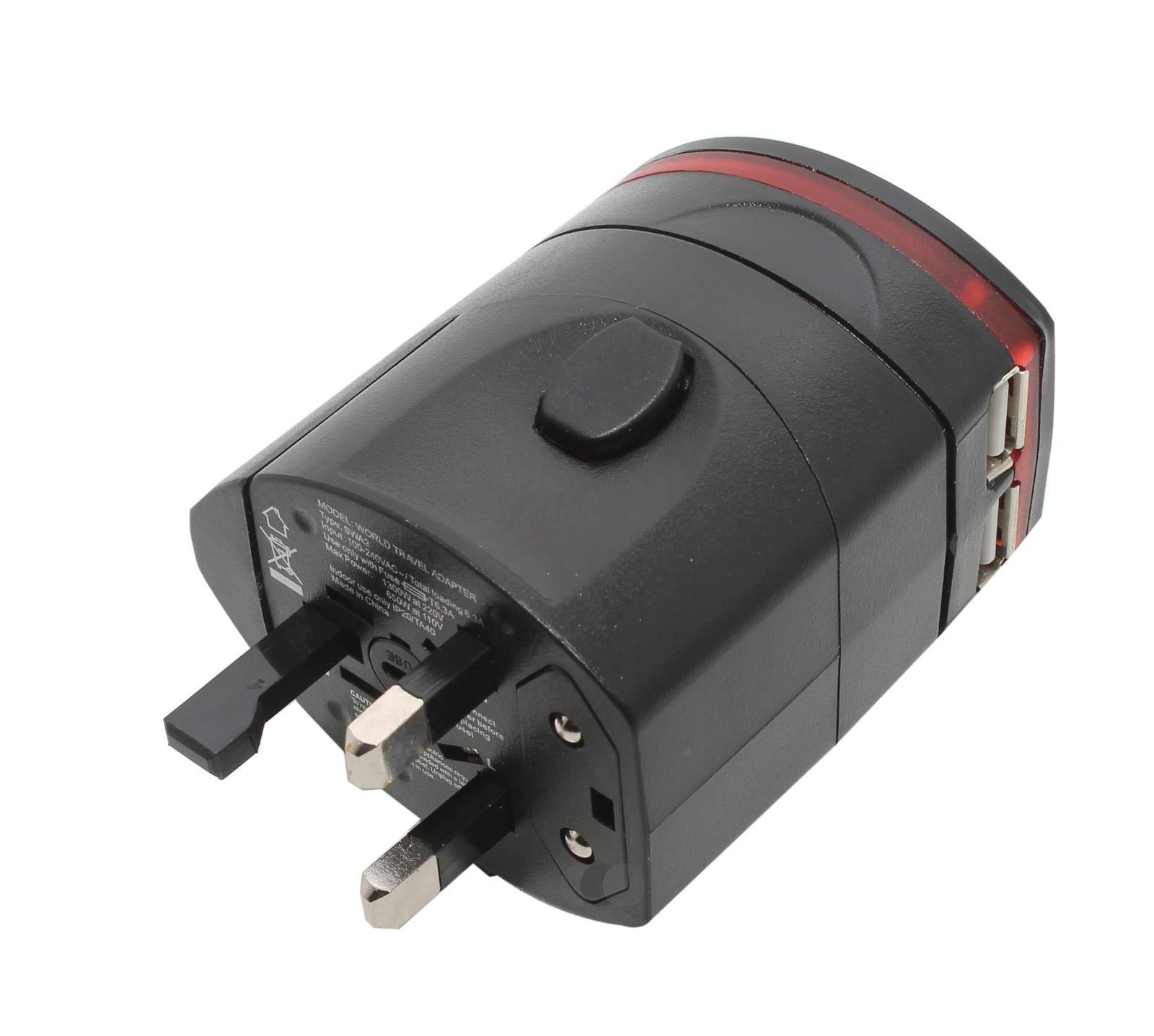 Reiseadapter, World travel adapter mit 2 USB Anschlüssen, für Laptops, Handys, Tablets und alle Geräte mit normalem Stecker wie Rasierapparate, oder den Föhn