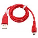 Rotes, 0,95m langes USB-Datenkabel und Ladekabel, USB 2.0 Typ A auf Micro-USB, für Smartphone, Handy, Tablet u.a.