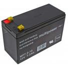 Multipower MP7.2-12 Blei Gel Akku mit 12 Volt und 7,2Ah Kapazität, Faston 4,8mm Kontakte, mit VDS Zulassung.