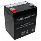 Multipower MP5-12C Blei Gel Akku (Pb) mit 12 Volt und 5Ah Kapazität, zyklenfest mit Faston 6,3mm Kontakten