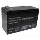 12 Volt 7,2Ah Multipower MP7.2-12B Blei Akku, VDS Zulassung, 6.3mm Faston Anschluss