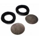 1 Paar Sennheiser 040407 Ohrpolster aus Kunstleder mit Trägerring und Schaumnetzscheibe für HD 520, HD 530 Kopfhörer, schwarz