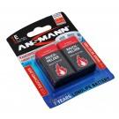 2er Pack Ansmann 9V Block Batterie für Rauchmelder, E Block 6LR61, AM6, 9V
