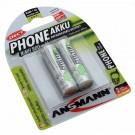 2 Stück Ansmann AA HR6 Mignon NiMH Akkus für DECT-Telefone mit 1,2 Volt und 800mAh Kapazität, Teilenummer 5030902