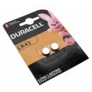 2x Duracell LR43 AG12 Alkaline Knopfzelle Batterie, 12GA, B-LR43, G12A, LR1131, 1,5V, 73mAh