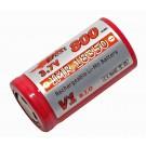3,7 Volt Efest IMR 18350 V1 B.I.O. Akku mit flachem Pluspol und 800mAh Kapazität (Li-Mn), ungeschützt.