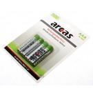 Arcas AAA Micro HR03 Nickel-Metallhydrid Akku mit 1,2 Volt und 1100mAh Kapazität im 4er Blister.