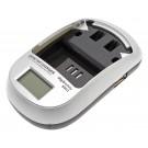 Akku Ladegerät digibuddy 5401 mit LCD Anzeige für geladene Kapazität, Ladespannung und Ladefortschritt, durch wechselbare Ladeschalen, separat erhältlich für viele Akkus geeignet