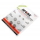 6x Arcas Knopfzellen Batterie Alkaline 1,5V  AG3, AG4, AG10, AG13, LR41/392, LR66/377, LR1130/389, LR44/357