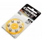 6er Pack Camelion Knopfzelle, Batterie A10, PR70, A10-BP6, für Hörgeräte 1,4V, 90mAh, 10A, HA10, V10AT, DA10, P10. A10, PR230H, AC230E, AC10EZ, PR70, DA230,  DA10N, 10AP, 230AP