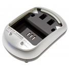 Akku Ladegerät DTC-5101 für Lithium-Ionen Akkus mit Betriebs-LED (Status) und Lade-LED (Charge). Durch wechselbare Ladeschalen,separat erhältlich, für viele Akkus geeignet