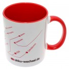 Tasse, Becher, Pott für Kaffee, Tee oder andere Heißgetränke von akku-wechsel.de mit rot, weiß, schwarzem Druck