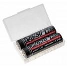 2x Kraftmax 18650 Pro   PCB Schutzschaltung   Micro-USB Ladeanschluss, Transportbox, 3,6V, 3400mAh