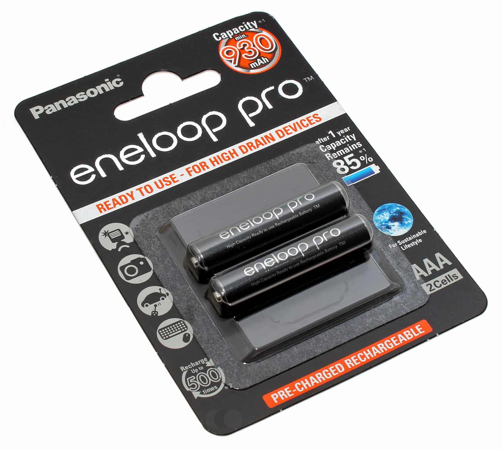2 Stück Panasonic (ehemals Sanyo) eneloop pro AAA HR03 Micro Akku, NiMH mit 1,2 Volt und 930mAh Kapazität, Teilenummer BK-4HCDE/2BE